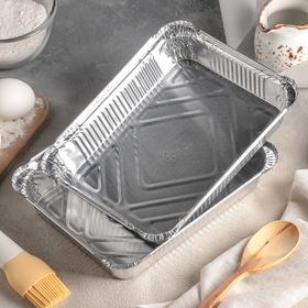 Набор форм для выпечки из фольги, 1,04 л, 2 шт, цвет серебристый