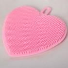 Губка силиконовая «Сердце», 11×11×1,5 см, цвет МИКС - Фото 2