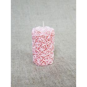 Свеча Свадебная Цилиндр из роз 4,5*7 коралловый
