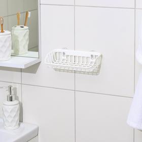 Подставка для губки и мыла на присосках, 21×11×5 см, цвет белый