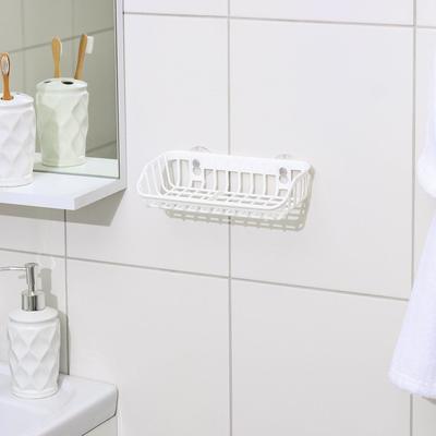 Подставка для губки и мыла на присосках, 21×11×5 см, цвет белый - Фото 1