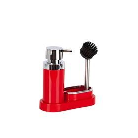 Кухонный набор для мытья посуды, 20х8,5х19,5 см, цвет красный