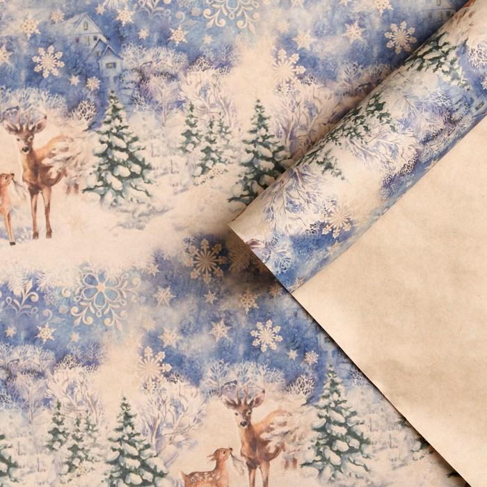 Бумага упаковочная крафтовая «В зимнем лесу», 50 × 70 см