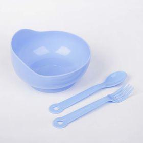 Набор детской посуды, 3 предмета: миска 250 мл, ложка, вилка, от 5 мес., цвета МИКС