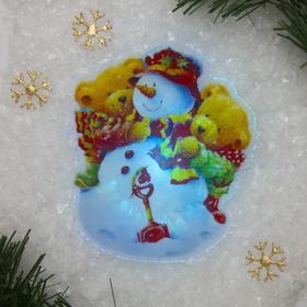 Световая картинка на магните 'Снеговичок'(батарейки в комплекте), оптоволокно, 1 LED, RGB Ош