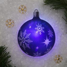 Световая картинка на прищепке 'Елочный шар'(батарейки в комплекте), оптоволокно, 1 LED, RGB Ош