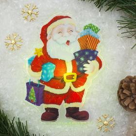 Световая картинка на магните 'Дед Мороз с подарками'(батарейки в комплекте), 1 LED, RGB Ош