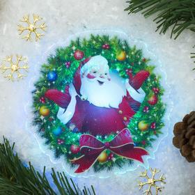 Световая картинка на прищепке 'Санта'(батарейки в комплекте), оптоволокно, 1 LED, RGB Ош