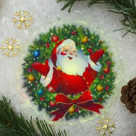 """Световая картинка на присоске """"Санта""""(батарейки в комплекте), оптоволокно, 1 LED, RGB"""