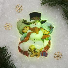 Световая картинка на присоске 'Снеговик с детьми'(батарейки в комплекте), 1 LED, RGB Ош