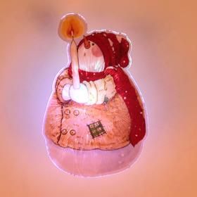 Световая картинка на присоске 'Снеговик рождественский'(батарейки в комплекте), 1 LED, RGB Ош