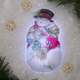 Световая картинка на присоске 'Снеговик'(батарейки в комплекте), оптоволокно, 1 LED, RGB Ош