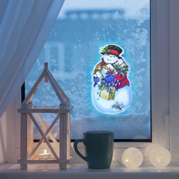 "Световая картинка на присоске ""Снеговик""(батарейки в комплекте), оптоволокно, 1 LED, RGB"