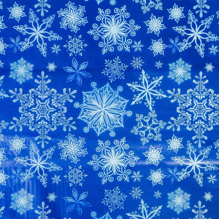 Бумага упаковочная тишью Снежные цветы, 50 66 см