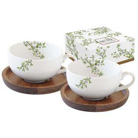 """Набор из двух чашек для кофе с крышками, подставками из акации """"Натура"""", в подарочной упаковке"""
