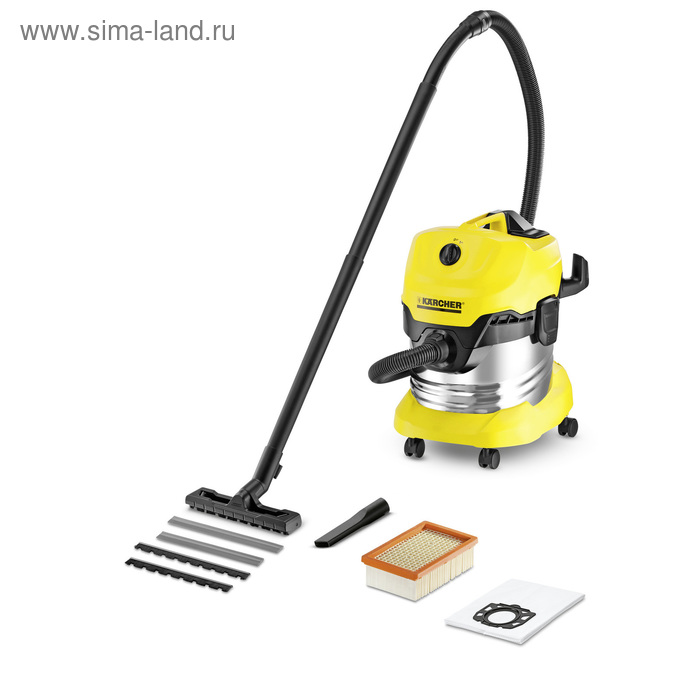 Пылесос Karcher WD4 Premium, 1500 Вт, 20 л, желтый/черный