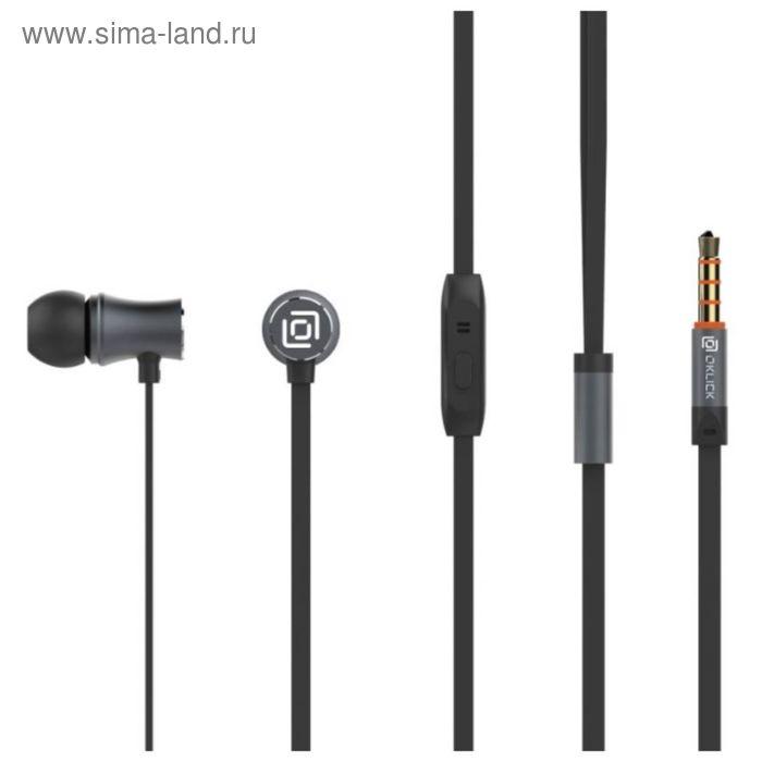 Наушники с микрофоном Oklick HS-S-310, вкладыши, в ушной раковине, провод 1.2 м, черные