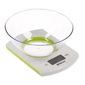 Весы кухонные Sakura SA-6068G, электронные, до 7 кг, бело-зеленые