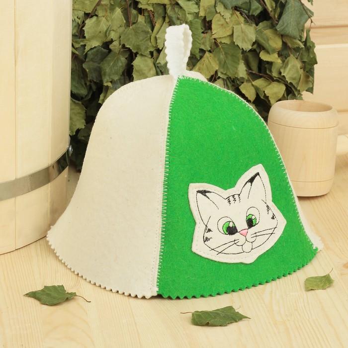 Банная шапка детская «Котёнок», войлок, 100% шерсть