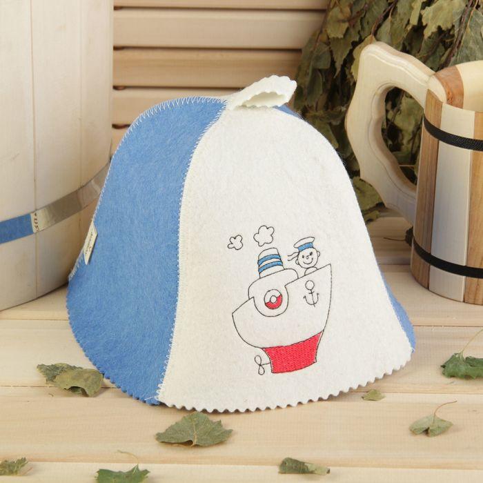 Банная шапка детская «Морячок», войлок, 100% шерсть