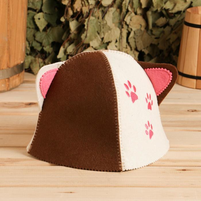Банная шапка детская «Кошка» с ушками, войлок, 100% шерсть, микс