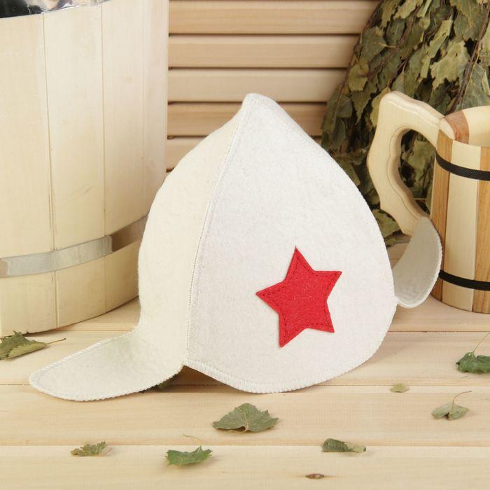 """Банная шапка """"Будёновка"""" , белая, войлок, 100% шерсть"""