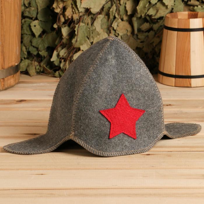 """Банная шапка """"Будёновка"""", серая, войлок, 100% шерсть"""