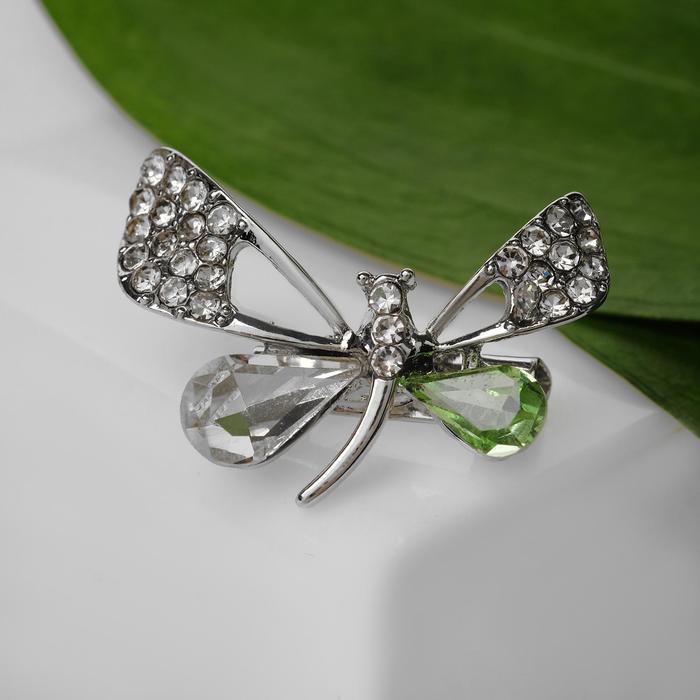 """Брошь """"Бабочка изящная"""", цвет бело-зеленый в серебре"""