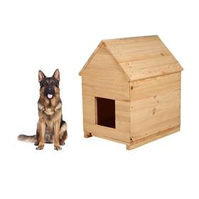 Будка для собаки, 75 × 60 × 90 см, деревянная, с крышей Ош