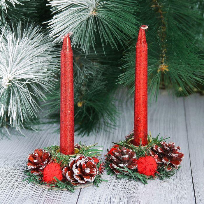 Новогодние свечи с подсвечником Красный блеск набор 4 шт 3,51115 см