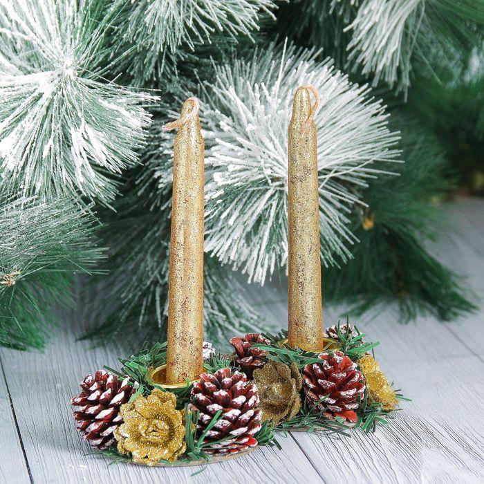 Новогодние свечи с подсвечником Золотой блеск набор 4 шт 3,51115 см
