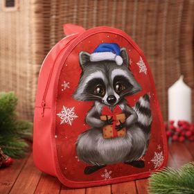 Рюкзак детский новогодний, отдел на молнии, цвет красный