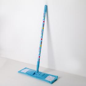 Швабра плоская Доляна «Цветочки», телескопическая ручка 68-121 см, насадка микрофибра 42×12 см, цвет МИКС Ош