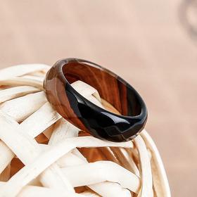 Кольцо гранёное 'Агат полосатый' 6мм, размер МИКС Ош