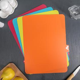 Набор досок разделочных прямоугольных гибких Доляна, 37×28 см, 4 шт, цвет МИКС