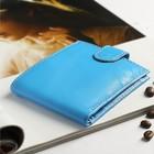 Кошелёк женский, 2 отдела, для карт, для монет, анилин голубой