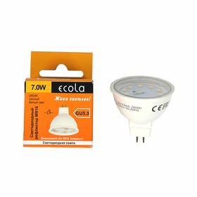 Лампа светодиодная Ecola, MR16, 7 Вт, GU5.3, 2800 K, 48x50, прозрачное стекло