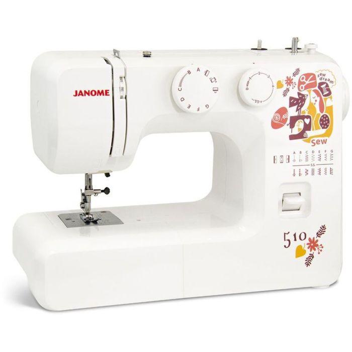 Швейная машина Janome Sew Dream 510, 35 Вт, 15 операций, полуавтомат, белая