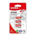 Ластик Kores, синтетика, KE-30, 40 x 21 x 10 mm, 3 штуки, в блистере