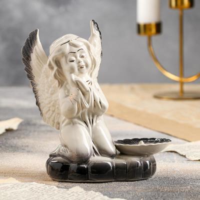 """Подсвечник """"Молящийся ангел"""", бело-серый цвет, 18 см - Фото 1"""