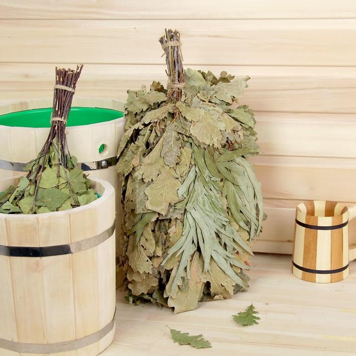Веник для бани дубовый, 55 см с эвкалиптом