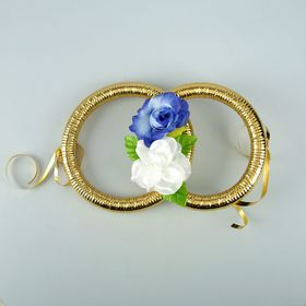 Кольца на радиатор авто с цветами,бело-синие Ош