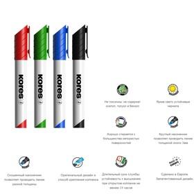 Набор маркеров для доски, 4 цвета, 3.0 мм, KORES, с губкой