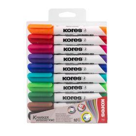 Набор маркеров для доски, 10 цветов, 3.0 мм, KORES 20800