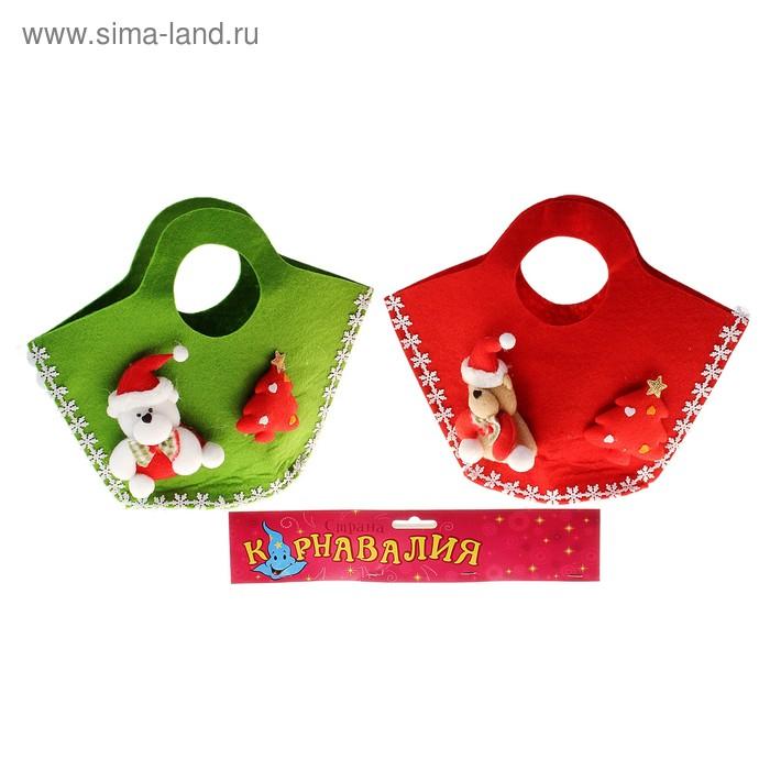 """Мягкая игрушка-сумка """"Мишка"""" с елочкой, цвета МИКС"""