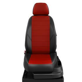 Авточехлы для Nissan Almera Classic с 2006-2012г. седан Задние спинка и сиденье единые. молния под задний подлокотник, 5 подголовников, экокожа, красно-чёрная