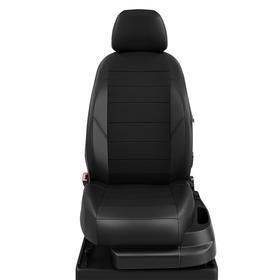 Авточехлы для Nissan Micra с 2003-2010-н.в. хэтчбек K12, К13 Задняя спинка 40 на 60, сиденье единое, 5 подголовников, экокожа, чёрная