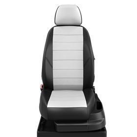 Авточехлы для Nissan Pathfinder 3 с 2004-2014г. джип Заднее сиденье 3 секции, передний подлокотник, молния под задний подлокотник, 5 подголовников, экокожа, бело-чёрная