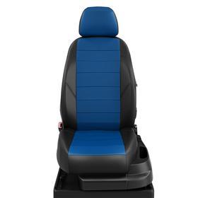 Авточехлы для Nissan Tiida с 2004-2014г. седан Задняя спинка 40 на 60, сиденье единое. молния под задний подлокотник, 2 надкрыльника, 5-подгловников, экокожа, сине-чёрная