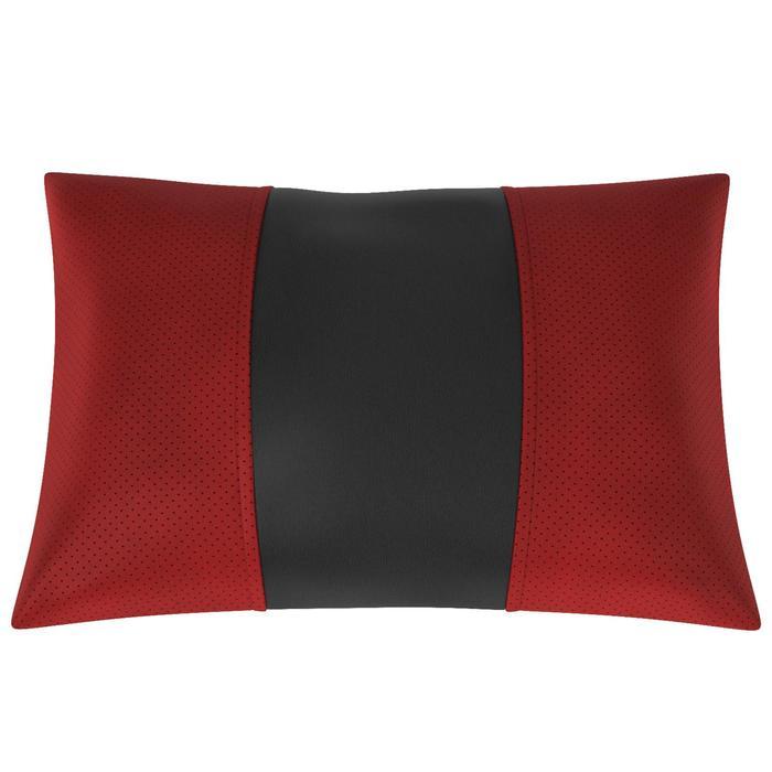 Автомобильная подушка, поясничный подпор, экокожа, чёрно-красная